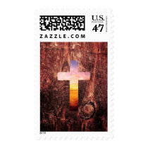 spirituality, sunset, wood, cross, vintage, inspire, landscape, dream, beautiful, sea, cute, cool, pattern, nautical, crucifix, wooden, religious, fun, beach, postage, stamp, Stamp with custom graphic design