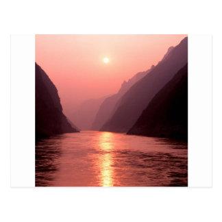 Sunset Wu Gorge Yangtze River China Postcard