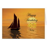 Sunset yacht 40th birthday card
