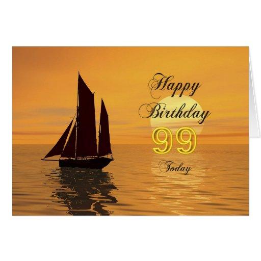 Sunset yacht 99th birthday card