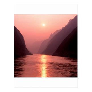 Sunset Yangtze River China Postcard