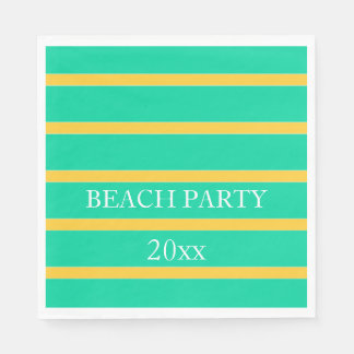 Sunset Yellow Stripes on Beach Green Personalized Paper Napkin
