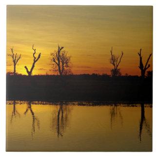 Sunset, Yellow Water Billabong 2 Ceramic Tile