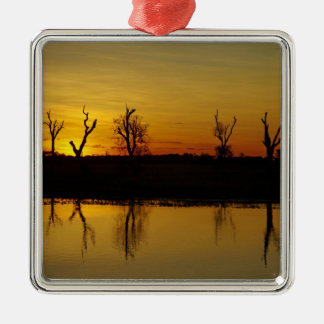 Sunset, Yellow Water Billabong 2 Square Metal Christmas Ornament