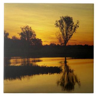 Sunset, Yellow Water Billabong 3 Ceramic Tile