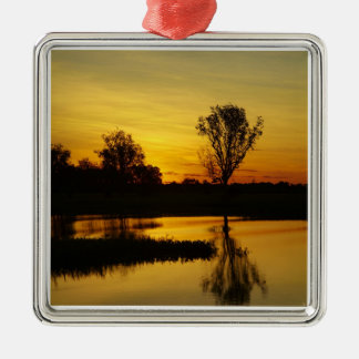 Sunset, Yellow Water Billabong 3 Square Metal Christmas Ornament