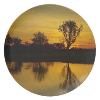 Sunset, Yellow Water Billabong Dinner Plate