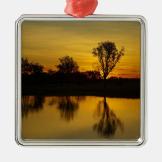 Sunset, Yellow Water Billabong Square Metal Christmas Ornament