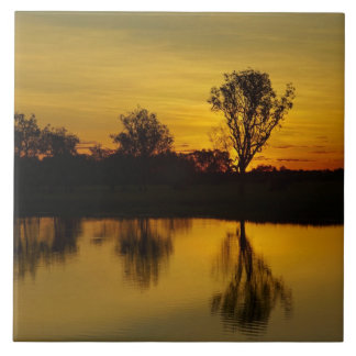 Sunset, Yellow Water Billabong Tile
