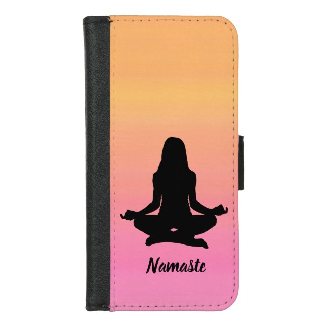 Sunset Yoga Rainbow Pink iPhone 8/7 Wallet Case
