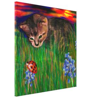 SunsetNatureDiscovery Ladybug Wrapped Canvas Print