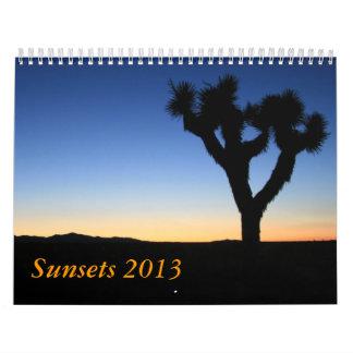 Sunsets 2013 calendar