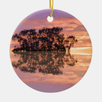 Sunsets in reflection ceramic ornament