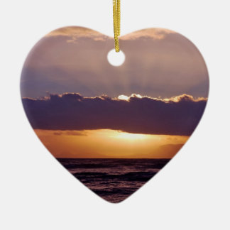 Sunsets in The Cape South Africa Double-Sided Heart Ceramic Christmas Ornament
