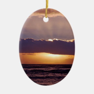 Sunsets in The Cape South Africa Double-Sided Oval Ceramic Christmas Ornament