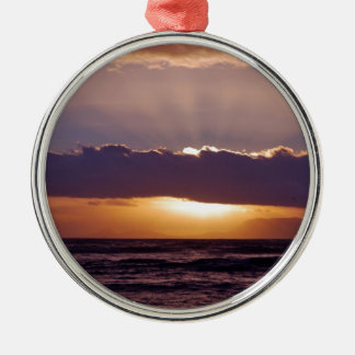 Sunsets in The Cape South Africa Round Metal Christmas Ornament