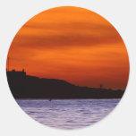 Sunsets La Jolla Beaches Clouds Orange Classic Round Sticker