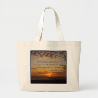 sunset's last moment with ephesians 4:26-27 canvas bags