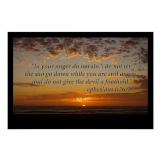 sunset's last moment with ephesians 4:26-27 poster