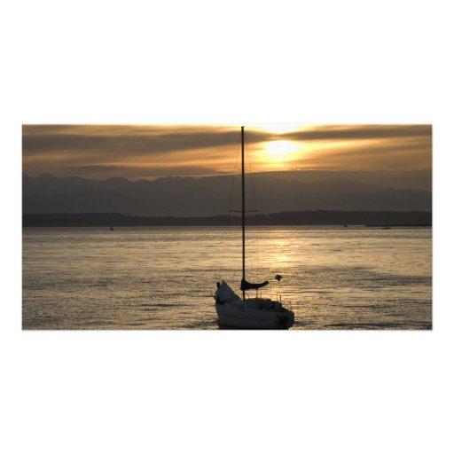 SunsetSailboat051709 Personalized Photo Card