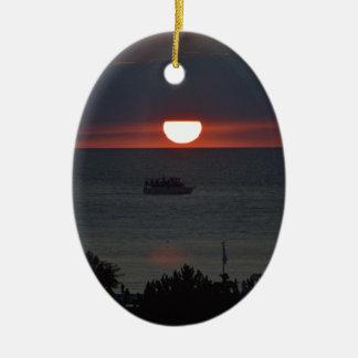 Sunsetting over Lake Michigan Ceramic Ornament