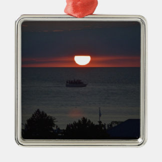 Sunsetting sobre el lago Michigan Ornamentos Para Reyes Magos