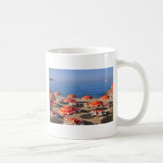 Sunshades on the beach in France Coffee Mug