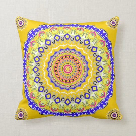 Sunshine and Blue Skies Mandala Pillow
