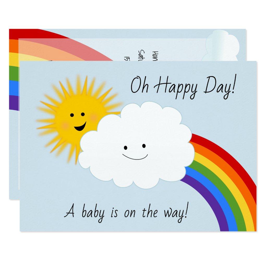 Sunshine and Rainbows Baby Shower Card