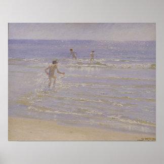 Sunshine at Skagen: Boys Swimming, 1892 Poster