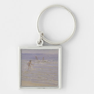 Sunshine at Skagen: Boys Swimming, 1892 Silver-Colored Square Keychain