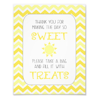 Sunshine baby shower take a treat sign