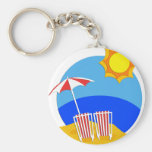 Sunshine Beach Day Basic Round Button Keychain