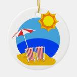 Sunshine Beach Day Christmas Ornaments