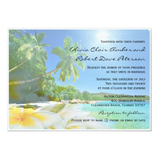 Sunshine Beach Palm Trees Plumerias Wedding Invite Custom Announcement