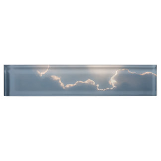 Sunshine behind clouds name plates