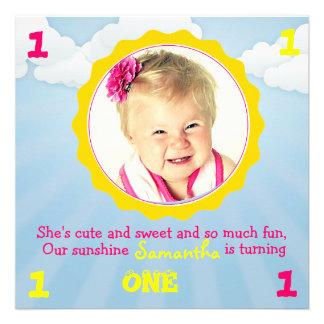 Sunshine Birthday Invite Pink Yellow