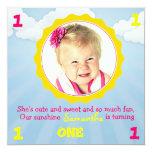 "Sunshine Birthday Invite Pink & Yellow 5.25"" Square Invitation Card"