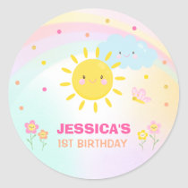 Sunshine Birthday Party Favor Tag Sticker Seal
