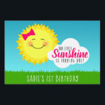 """Sunshine Birthday Party Lawn Sign<br><div class=""""desc"""">Is your little sunshine having a birthday party? Make it a sunny occasion with the Sunshine Birthday Party Yard Sign designed by Enchantfancy Design Company. This cute pink and yellow party theme is a perfect choice for kids birthday parties. The design features a smiling sun wearing a pretty pink hair...</div>"""