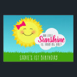 "Sunshine Birthday Party Lawn Sign<br><div class=""desc"">Is your little sunshine having a birthday party? Make it a sunny occasion with the Sunshine Birthday Party Yard Sign designed by Enchantfancy Design Company. This cute pink and yellow party theme is a perfect choice for kids birthday parties. The design features a smiling sun wearing a pretty pink hair...</div>"