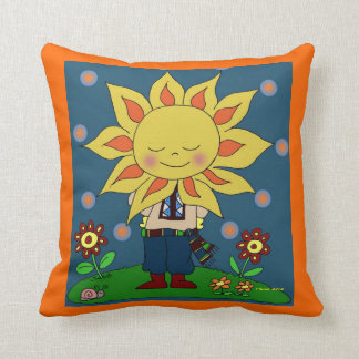 Sunshine Boy Ukrainian Folk Art Throw Pillow
