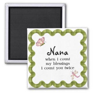 Sunshine Butterfly Grandma Nana Blessings Gift 2 Inch Square Magnet