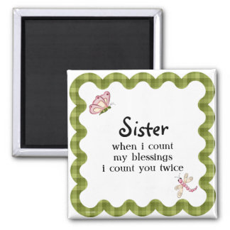 Sunshine Butterfly Sister Blessings Gift 2 Inch Square Magnet