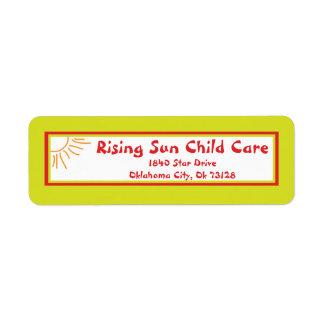 Sunshine Child Care Return Label Return Address Label