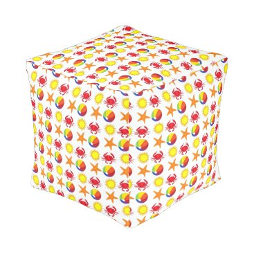 Beach Themed Sunshine Crab Beach Ball Starfish Summer Seashore Pouf