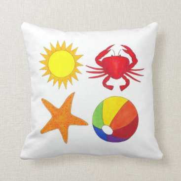 Beach Themed Sunshine Crab Beach Ball Starfish Summer Seashore Throw Pillow