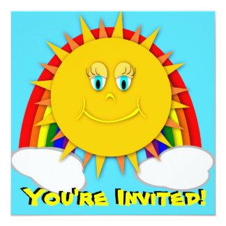 Sunshine Day Rainbow Birthday Party Invitaitons Card
