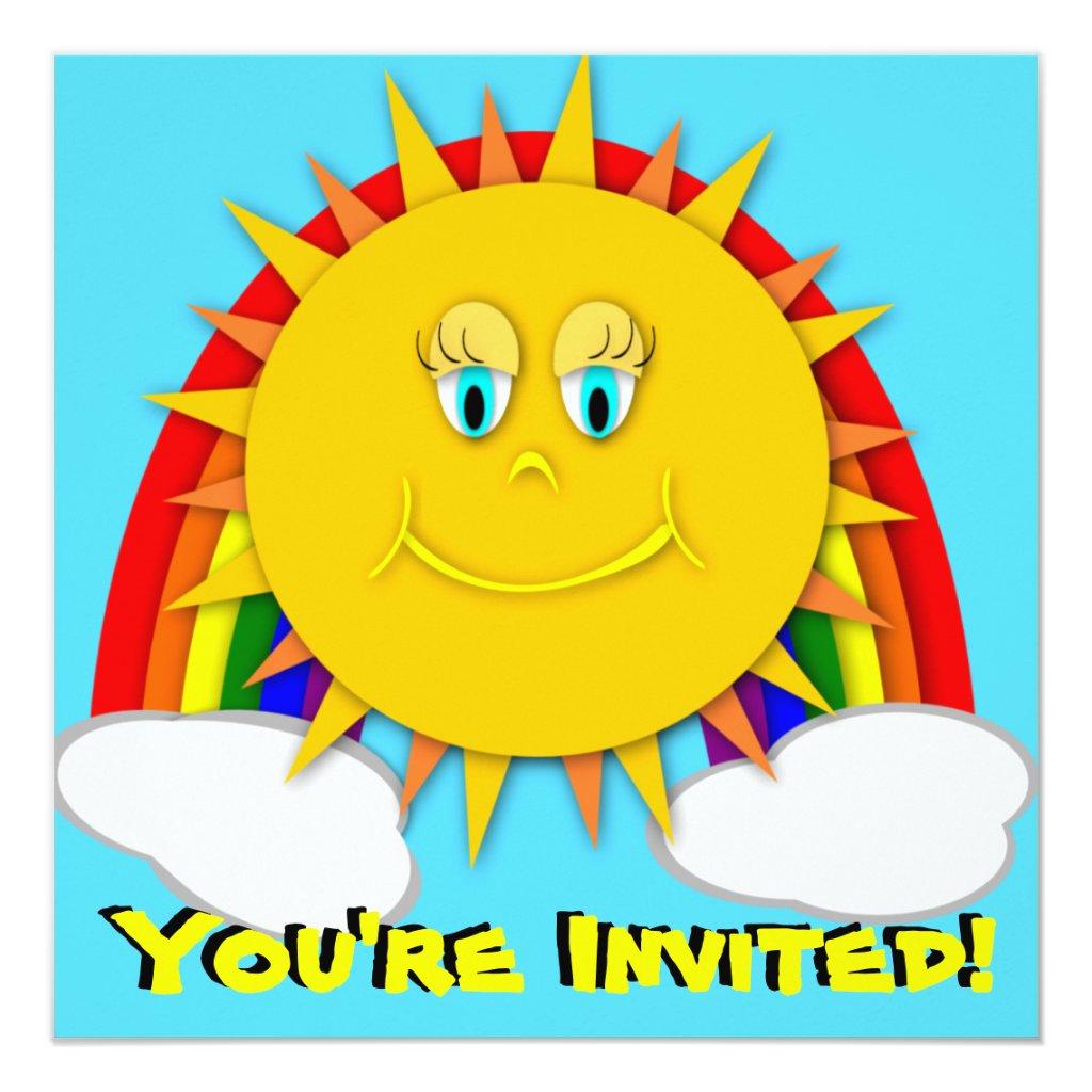 Sunshine Day Rainbow Birthday Party Invitaitons