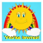 Sunshine Day Rainbow Birthday Party Invitaitons Personalized Invitation